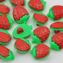 20/50/100 pcs Red strawberry Plastic Buttons backhole Baby sewing craft PH37