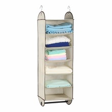 Foldable 6-Shelf Storage Bag In Fabric Hanging Closet Organizer for Accessory and Clothes Storage with Garment Rod and 2 Hooks