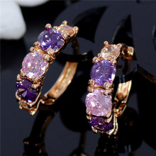H:HYDE Korean Style flower Circle Earring Women's Fashion Colorful Cubic Zircon small Hoop Earrings Wedding Party Jewelry