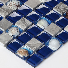 High Quality Navy Blue Grey Marble Stone Shell Resin Crystal Glass Mosaic Wall Tile for Kitchen Backsplash Bathroom Shower Floor(China)