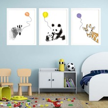 Panda Giraffe Zebra Dog Tiger Animals Balloon Canvas Painting Art Print Poster Wall Pictures for Kid Room Home Decor No Frame