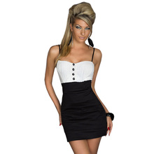 Accept Drop Free Shipping 3 Available Colors Spaghetti Strap White Mix Black Elengant Fascinating Sexy Mini Dress