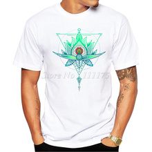 2016 Men's Fashion Oriental Geometric Lotus Triangle Design T Shirt Male Casual Tops Hipster Printed Own Style Tees