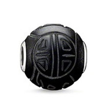 Hot Sale Black Enamel Shanghai Bead Thomas Karma Beads 925 Sterling Silver DIY Beads fit Bracelet Necklace for Women Men Jewelry