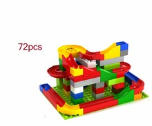 72Pcs Diy Constructions Building Block Toys Sets Irregular Shape Maze Balls Track Blocks Colorful Marbel Race Run Toys for kids