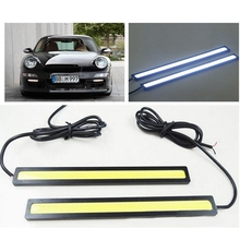 1 Piece Car styling Working Lights 12V COB LED DRL Driving Day Running Light Strip COB LED DRL Bar Stripes Panel 17cm Aluminum(China)