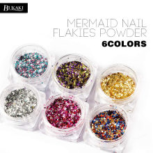 BUKAKI Gel Nail Polish Hexagon Mermaid Designs Glitter Paillette Shinning Tips Mixed Color Holographic Nail Powder Sequin(China)