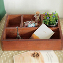 Multifunctional Antique Wooden Table Sundries Flowerpot Container Cosmetics Storage Boxes For Office Home Garden Decor