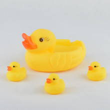 AIBOULLY 4pc/lot Bath Toys Shower Water Floating Squeaky Yellow Rubber Ducks Baby Toys Water Toys Brinquedos For Bathroom