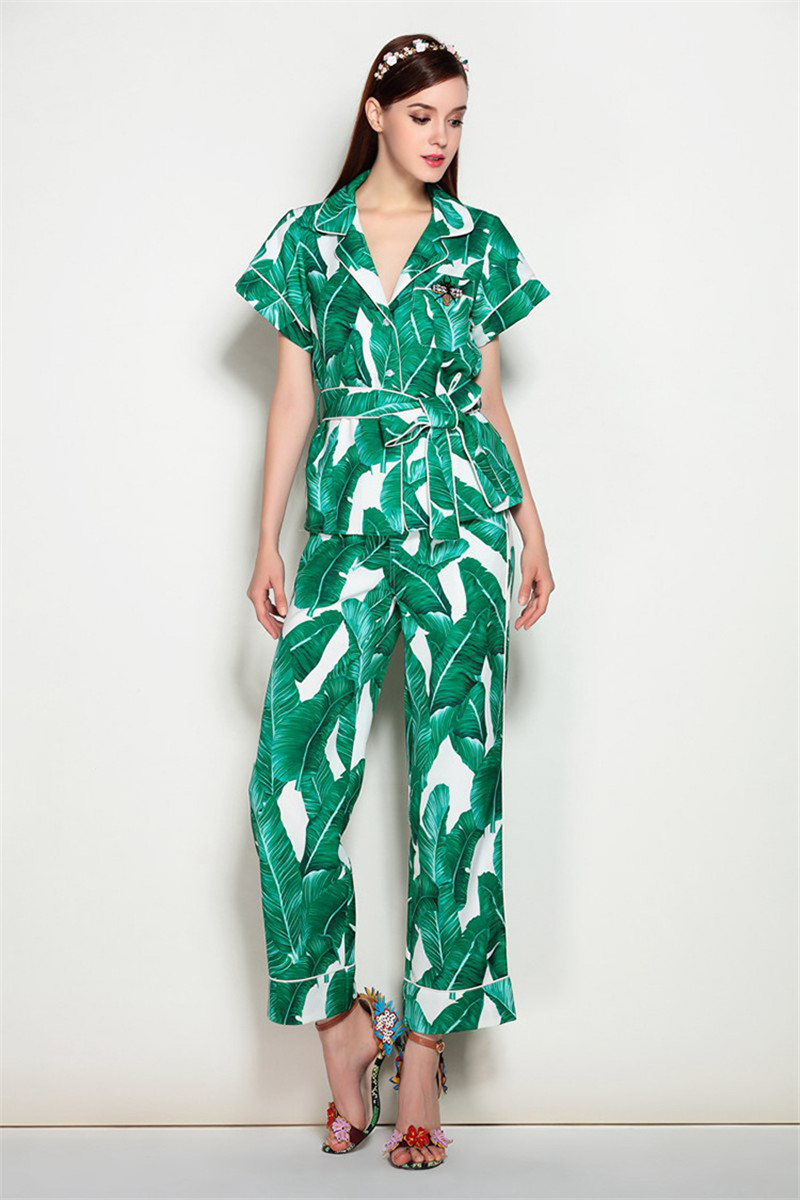 Brand Fashion Two Piece Set Women Runway Suit Fashion Green Leaf Print Dragonfly Beading Shirt + Elastic Waist Pants Sets 6