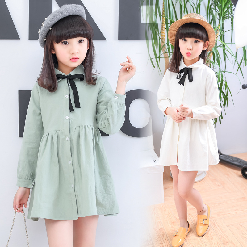 2017 Spring Baby Girl Shirt Dress Solid Color Doll Collar Kid Cotton Dress Children Long Sleeve Casual Style Clothes<br><br>Aliexpress