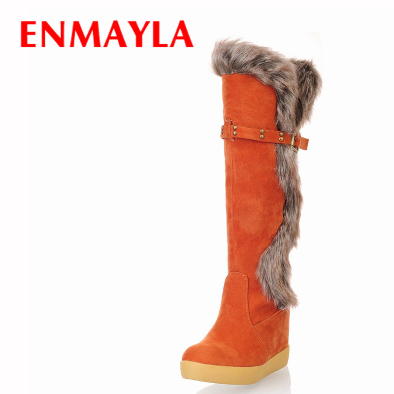 ENMAYLA Flats Lovely Style Warm Fur Snow Boots Women Faxu Suede Slip-on Knee High Boots Womens Flats Casual Shoes Woamn<br>