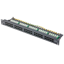 "CAT3 ISDN 25PORTS / 50PORTS TELEPHONE PATCH PANEL - WITH RJ45 8P8C SOCKETS 19"" RACK MOUNT"