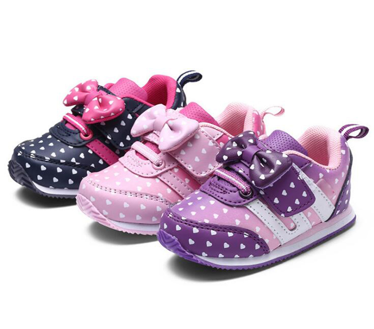 17 Autumn girl running sports shoes heart print black pink bowknot baby girls shoes Children casual Sneaker kid soft gym shoes 4