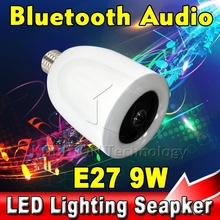 TA E27 9W LED Lamp Lighting Brightness Dimmable , Wireless Remote Bluetooth Audio Speaker Music Player from Mobile Phone