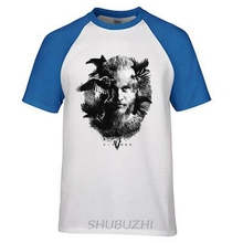 T Shirt Summer Vikings TV Series Odin's Raven Ragnar Lodbrok White Summer sportwear casual t-shirt ringer Tee(China)