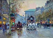 Edouard Cortes,Afternoon Street Paris landscape Impressionist oil painting on canvas HD printed pictures wall decor art work