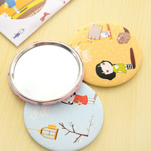 2pcs Portable Size Lovely Cartoon Design Makeup Mirror Compact Round Shape Shatter-Proof Makeup Mini Beauty Mirror Top Sale