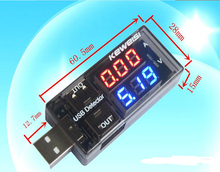 2016 newest Black color  USB Current Voltage Tester USB Voltmeter Ammeter Detector Double Row Shows New  DROPSHIPPING  #0149