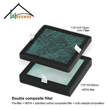 HEPA Filter Dust Collection Filter Air Purifier Activated Carbon Filter with Double composite filter 115*115*10mm(China)