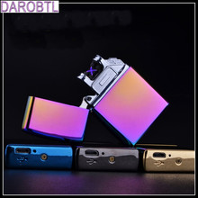 New arc lighter Double Pulsed Arc Slim Windproof cigarette cigar Lighter Personality Electronics usb novelty smoking Lighter