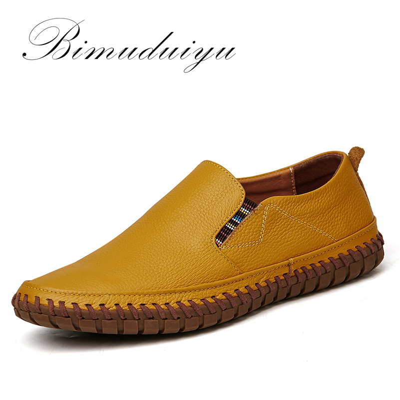 BIMUDUIYU Hot Sale Handmade High Quality Genuine Leather Men Flats Breathable Causal Shoes Slip-on Business Lazy Driving Shoes<br>