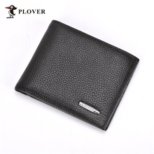 PLOVER Genuine Cow Leather Short Men Wallets Classic Money Coin Pocket Purse For Men Business Card Holder Portefeuille homme(China)