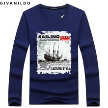 Givanildo Men T-shirt Clothes Tshirt Long Sleeve 2017 Autumn Young Sailboat T Shirt Big Size Casual Cotton Fashion BY188(China)