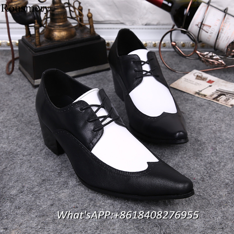 Wedding Shoes Man Pointed Toe High Heel Shoes Man British Style Leather Shoes Height Increasing Mixed Color Black White Leather<br><br>Aliexpress