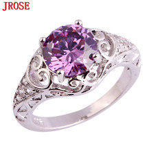 JROSE New Fashion Wedding Round Cut Hot Sale Created Purple & White CZ Silver Ring Size 6 7 8 9 10 11 For Lady Jewelry Gifts