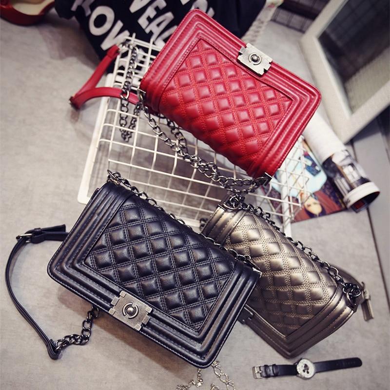 Women Bag Designer Handbags High Quality Ladies Quilted Plaid Chain Shoulder Crossbody Bags PU Leather Women Messenger Bag 8802<br><br>Aliexpress