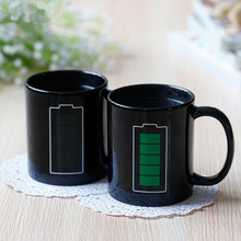 Battery Magic Mug Positive Energy Color Changing Cup Ceramic Discoloration Coffee Tea Milk Mugs Novelty Gifts(China)