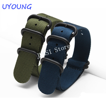 custom watch strap nylon 18mm20mm22mm24mm Blue 5 ring ZULU watchband waterproof Nato nylon strap with stainless steel buckle(China)