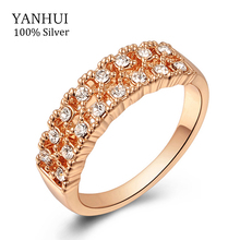 YANHUI Classic 18K Gold Filled Engagement Rings For Women Real Gold Plated Wedding Rings Women Jewelry RING SIZE 5 6 7 8 9 YR365