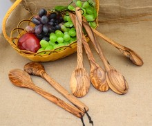 olivewood wooden spoon medium salad ladles kitchenwares tablewares natutal finish #812(China)