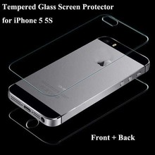 1 set Front + Back Tempered Glass Film Screen Protector For iPhone 5 5S Saver Fundas Capas Case cover Guard pelicula de vidro