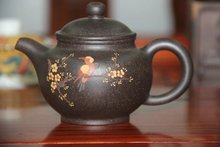 Chinese tea set yixing teapot Mud painted Drop only black Zhu mud  yi xing tea pot about 215ml