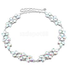 Women Big Flower Colorful Crystal Rhinestone Metal Waist Chain Belt Luxury Diamante for Evening Party Dress