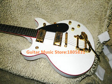 High Quality G6128T-1962 Duo Jet white Guitar Red binding With tremolo system Electric Guitar Free Shipping