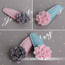 Beautiful Girl Snap Hair Clips Flower Hairgrips Cute Hairpins Pink color Full Covered hair clip Accessories(China)
