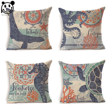 PEIYUAN Marine Life Hippocampus Octopus Whale Crab Lobster Turtles Sea Pillow Case Custom Linen Printed Square Cushion Cover