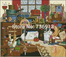 11CT Printed Factory Shop Cross Stitch Kit Pretty Cat Flower Sewing Machine Free Shipping(China)