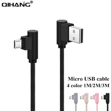 QIHANG USB Cable Nylon braided wire Right Angle 90 Degree Micro USB Cable For Samsung Xiaomi LG Huawei Mini USB Cable