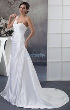free shipping 2017 new design custom size/color mundial handmade flowers ball gown bridal gown one shoulder white wedding dress