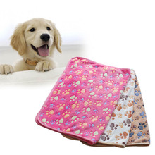 Pet Dog Mat Pet Dog Cat Blanket Floral Paw Print Cat Dog Warm Soft Blankets Pet Products beds Accessories cobertor para cachorro(China)