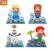 LOZ Western Cartoon Character Elsa Anna Olaf Mermaid Blocks Diamond Building Bricks Education Model Assemble Toys Christmas Gift - Time Machine Co.,Ltd store