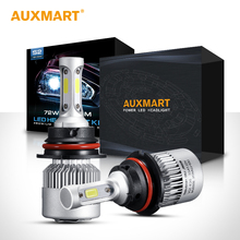 Auxmart H1/H4/H7/H11/H3/H13/9005/9006/9004/9007/9012 COB 72W LED Car Headlight Bulbs 6500K Hi-Lo/Single Beam0k LED Bulb 12V 24V