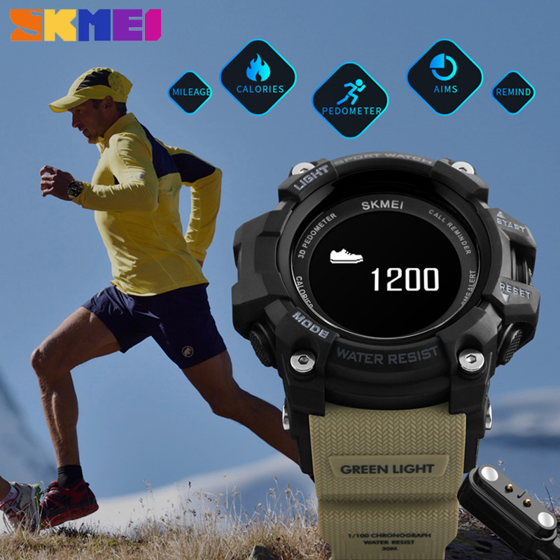 SKMEI Bluetooth Heart Rate Moniter Smart Wristwatches Man Military Clock Hours Men Sport Relogio Masculino Digital Analog Watch<br>