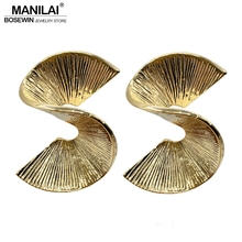 Buy MANILAI Trendy Big Spiral Alloy Statement Stud Earrings Punk Jewelry Women Vintage Earrings Golden & Silver Colors Brincos 2018 for $2.59 in AliExpress store