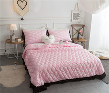 Tencel Bedspread Coverlet Quilt Grey Quilted Bedspreads pink Stitching Comforter Queen King bed pillowcase 3pc(China)